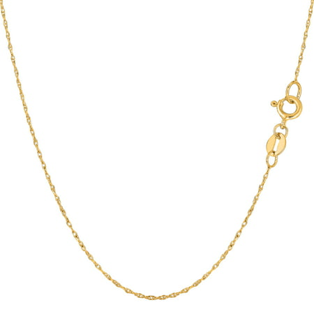 10k Yellow Gold Rope Chain Necklace, 0.5mm - Fake Gold Rope Chain