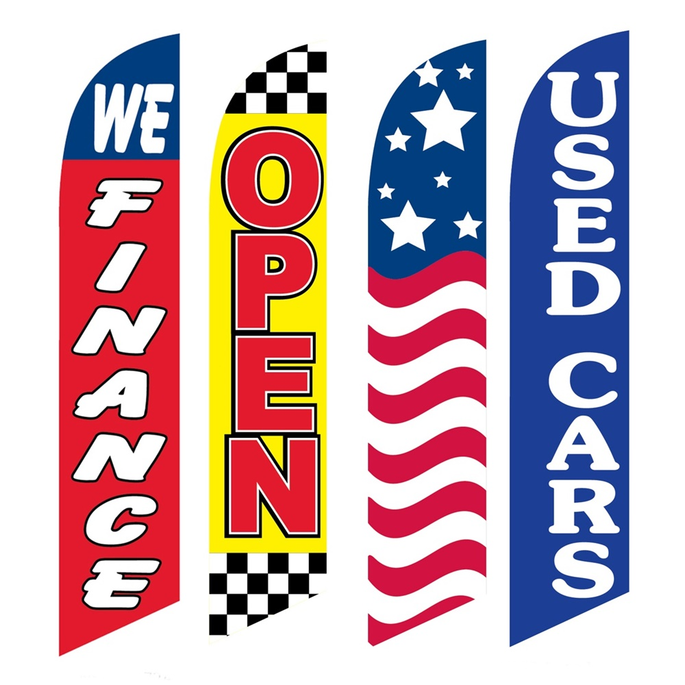 4 Advertising Swooper Flags We Finance Open USA Used Cars