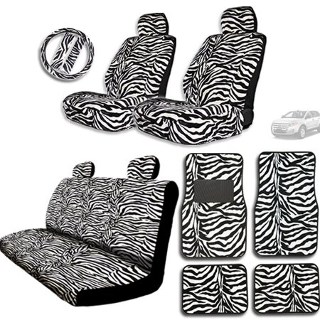 New High Quality Zebra Tiger Print Car Seat Covers and Steering Wheel Cover plus Carpet Floor Mats - Shipping Included