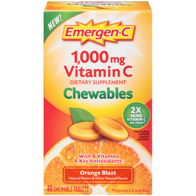 Emergen-C Chewable (40 Count, Orange Blast Flavor) Dietary Supplement Chewable Tablet with 1000mg Vitamin C & Vitamin B6
