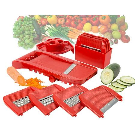 All In One Adjustable Fruit and Vegetable Mandoline Slicer Shredder Grater Grinder Julienne Cutter - Grinders Graters