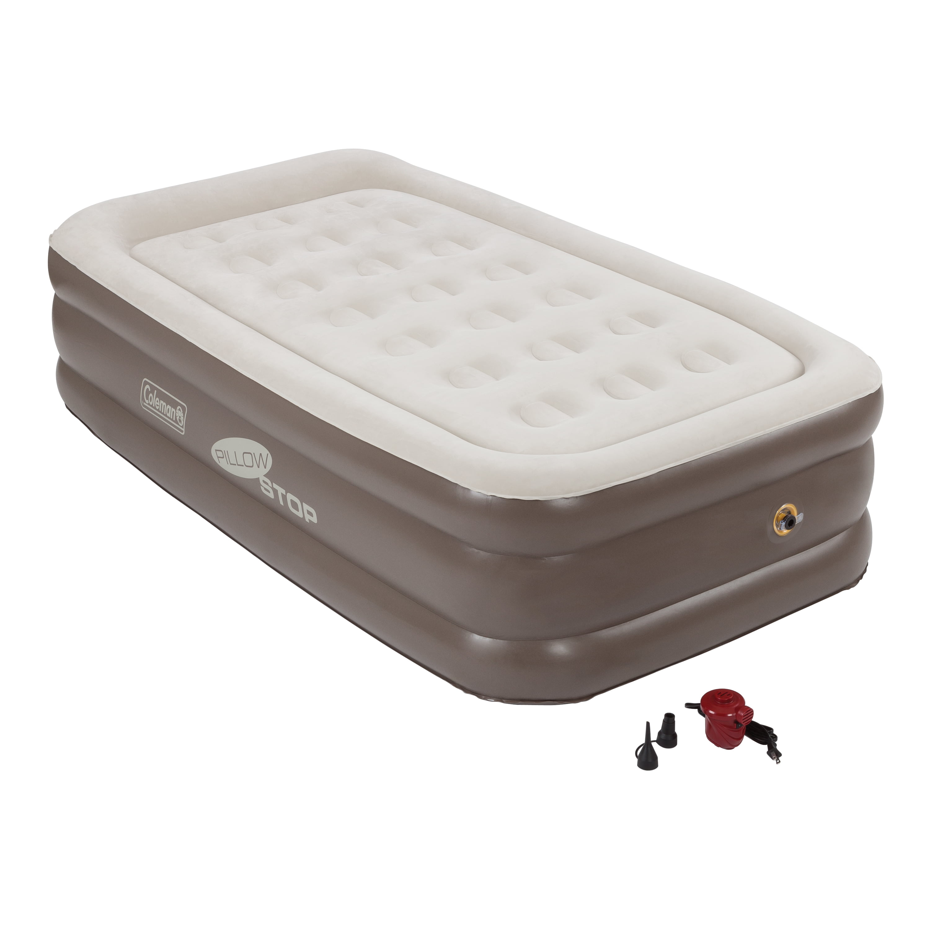 Coleman Raised Downy Inflatable Indoor Air Mattress Bed With Built In Pump