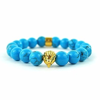 Blue Beaded Lion Head Bracelet For Men Women Shambala Style Eligant Brand New](Blue Bead Bracelet)