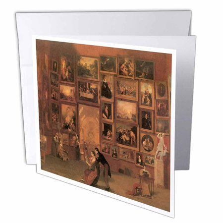 3dRose Gallery of the Louvre by Samuel F.B. Morse American Artist, Greeting Cards, 6 x 6 inches, set of 12