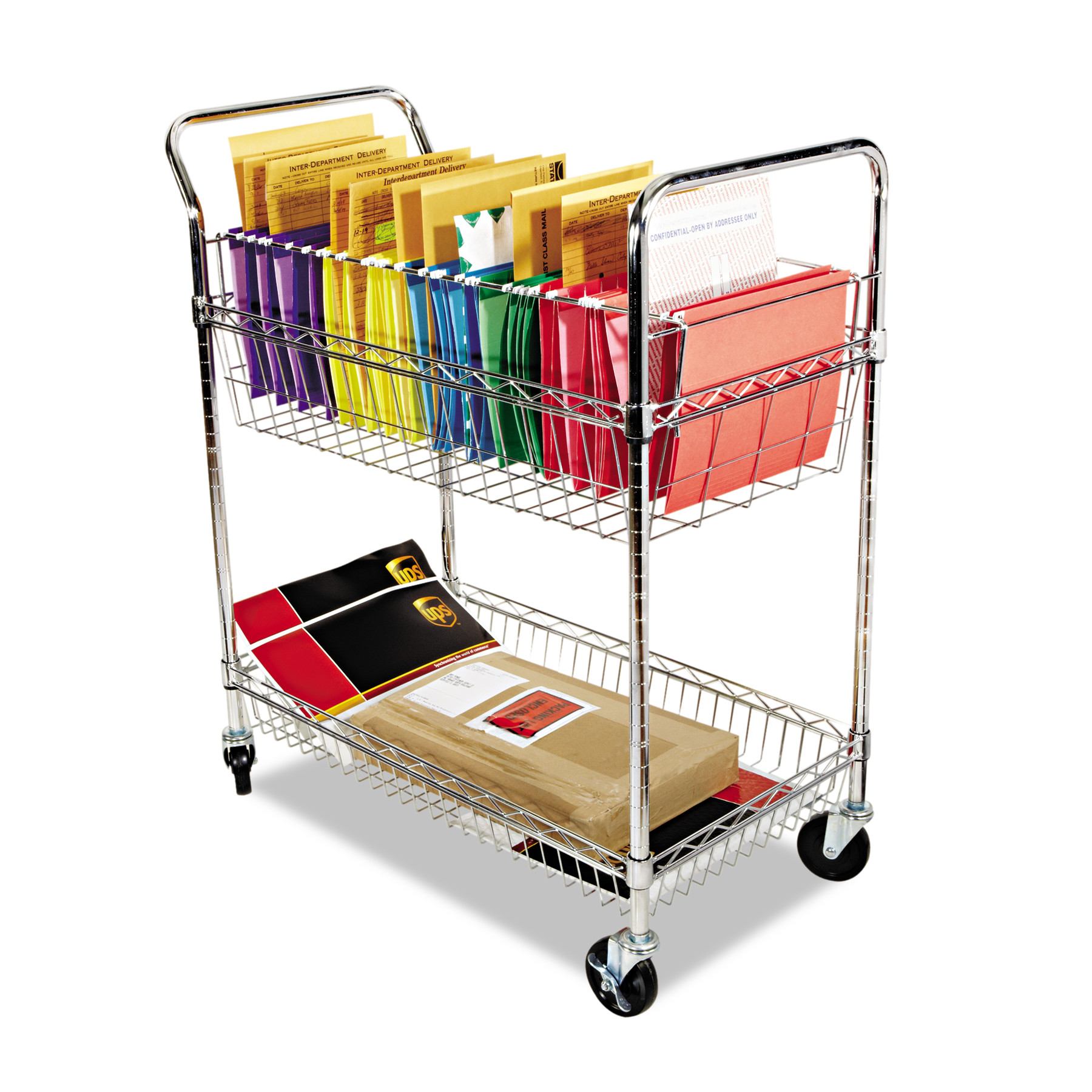 Alera Carry-all Cart/Mail Cart, Two-Shelf, 34-7/8w x 18d x 39-1/2h, Silver -ALEMC3518SR