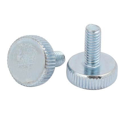 Unique Bargains M4x10mm Thread Zinc Plated Knurled Round Head Thumb Screws Silver Blue 15pcs - image 1 of 2