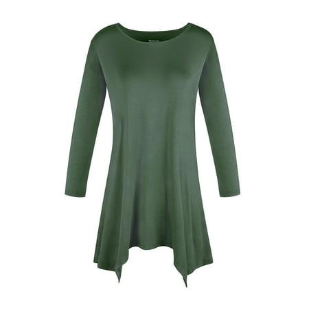 SAYFUT Round Neck Women's Basic 3/4 Sleeve Tunic Tops Irregular Hem Round Blouse for Women Long (Ladies Tunic T-shirt Tee)