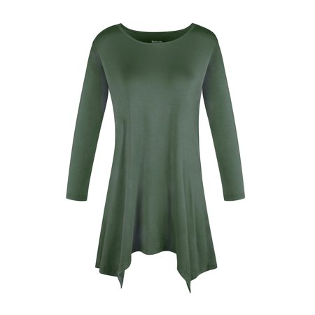 SAYFUT Round Neck Women's Basic 3/4 Sleeve Tunic Tops Irregular Hem Round Blouse for Women Long T-Shirt