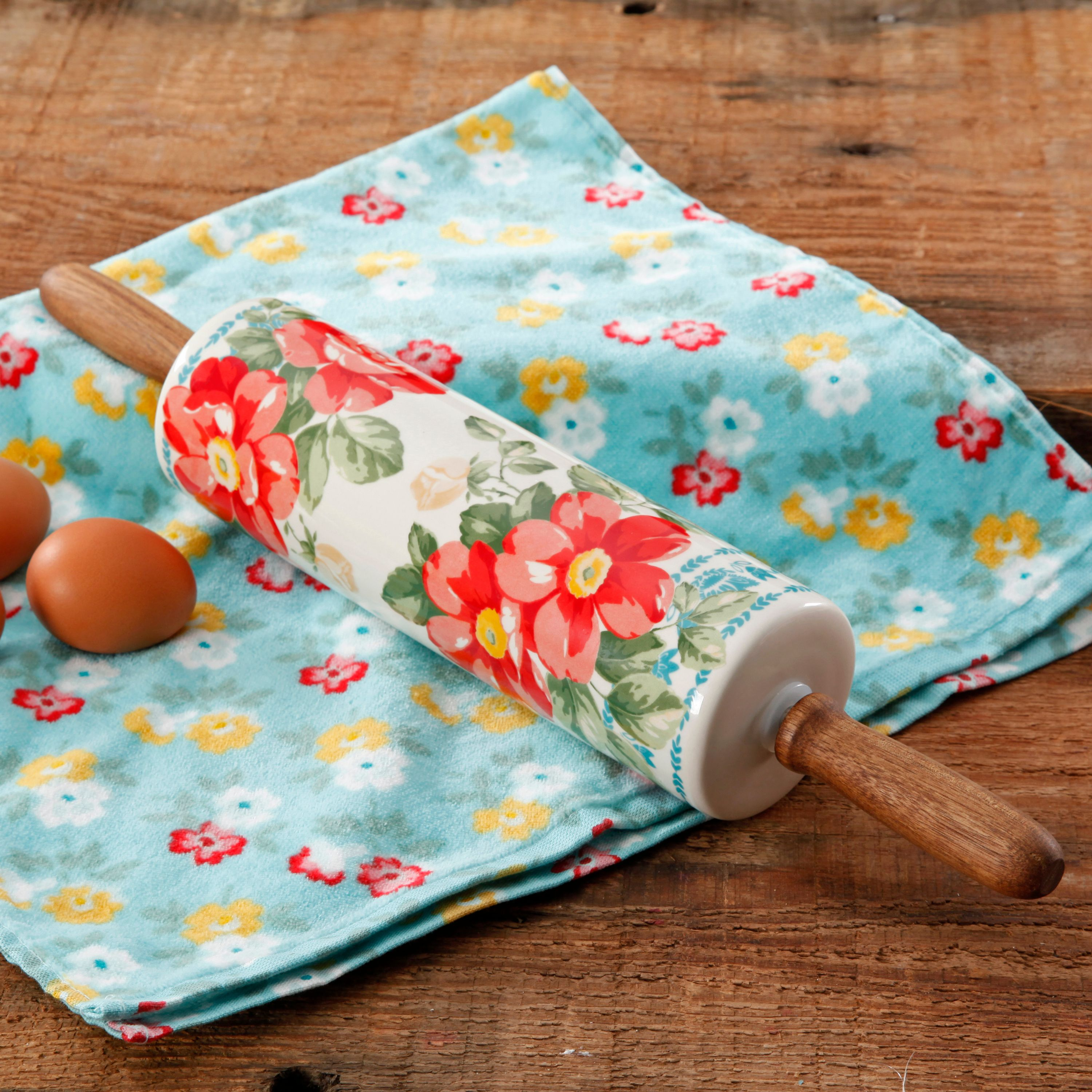 Pioneer Woman Rolling Pin, Floral Themed