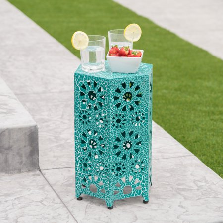 Marshall Outdoor 12 Inch Sunburst Iron Side Table, Crackle Teal Bedroom Outdoor Side Table