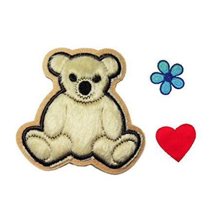 Altotux Beige Furry Teddy Bear Red Heart Blue Flower Kaylee Firefly Costume Embroidered Sew on Patches Applique DIY Cosplay Craft Supplies