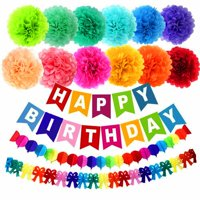"Pack of 15 10"" Birthday Paper Pom Poms (12 Colors), Happy Birthday Party Bunting Banner, Rainbow Paper Garland for Birthday Party Decorations"