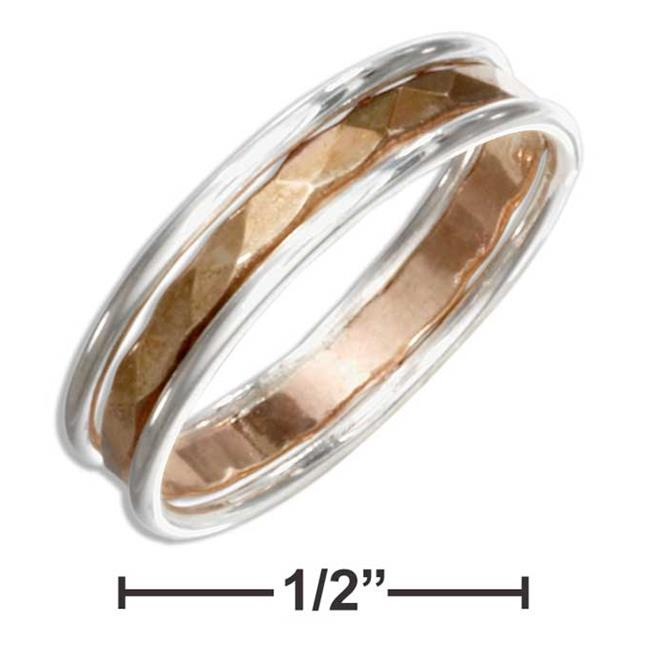 P-017549-07 7 in. Sterling Silver Band Ring with 12K Gold Filled Hammered Center - image 1 of 1
