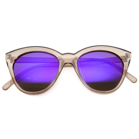 Women's Crystal Translucent Frame Flash Mirror Lens Round Cat Eye Sunglasses 52mm (Crystal Cat Eye Sunglasses)