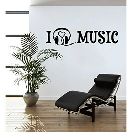 I Love Music Wall Decal Music Wall Sticker Musical Vinyl Wall Art Home Decor Melody Wall Mural Quotes And Sayings 4388 0 Red 47in X 15in Walmart Com Walmart Com