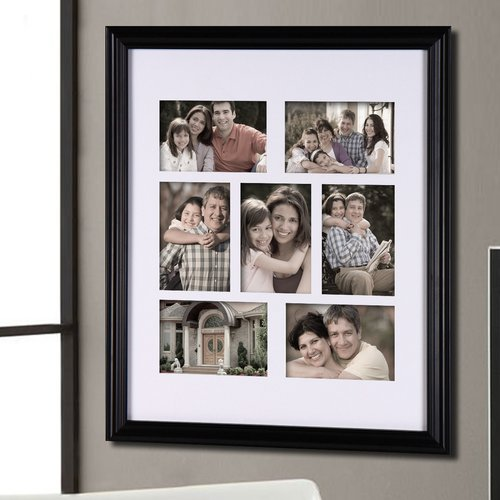 Adeco Trading 7 Opening Decorative Bulletin Board Style Wall Hanging Picture Frame