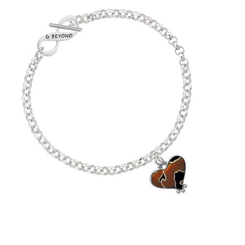 Two Tone Enamel Cheetah Print Heart & Beyond Infinity Toggle Chain Bracelet