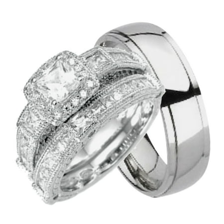 his and hers wedding sets silver titanium 3 pcs matching band rings him her walmartcom - Wedding Ring For Him