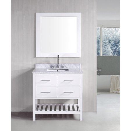 "Design Element London 36"" Single Sink Bathroom Vanity Set in White with Carrara Marble Top"