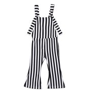Toddler Baby Girl Stripes Bell-Bottom Jumpsuit Romper Overalls Pants Outfits