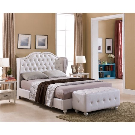 Holly Upholstered Platform Bed, White Faux Leather, Queen, With Wooden Slats, Crystal Tufted Headboard, Footboard, Rails, (Crystal White Leather)