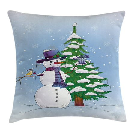 Christmas Decorations Throw Pillow Cushion Cover, Snowman in Winter with Mistletoe Gift Top Hat and Scarf Tree and Bird, Decorative Square Accent Pillow Case, 18 X 18 Inches, Blue Green, by Ambesonne