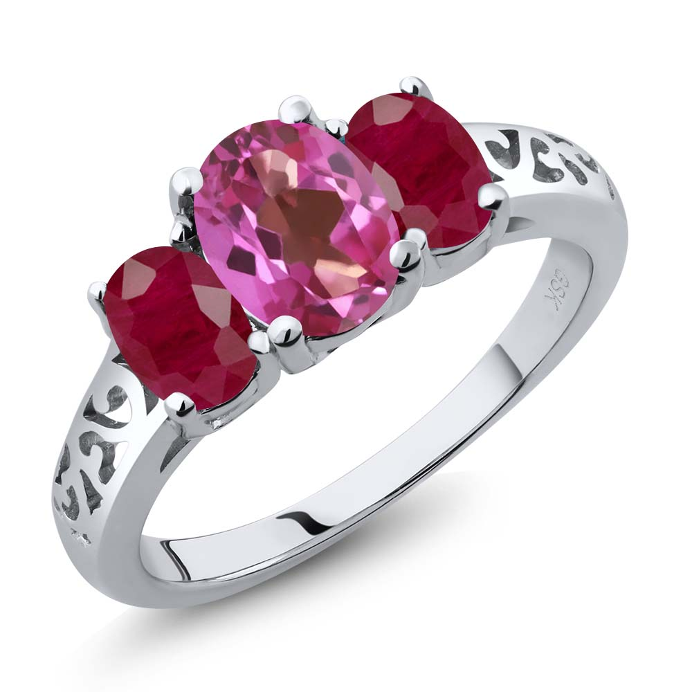 2.50 Ct Oval Pink Mystic Topaz Red Ruby 925 Sterling Silver 3-Stone Ring by