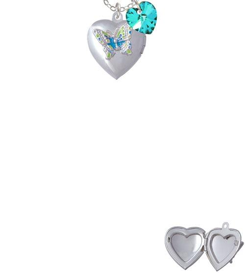 "Lime Green & Hot Blue Butterfly Locket  - Year 2016 Sophia Necklace, 18""+1"""