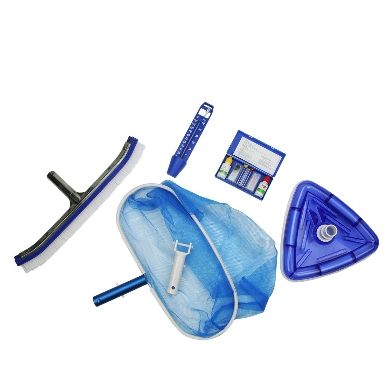 5 Piece Deluxe Swimming Pool Kit Vacuum Leaf Rake Wall