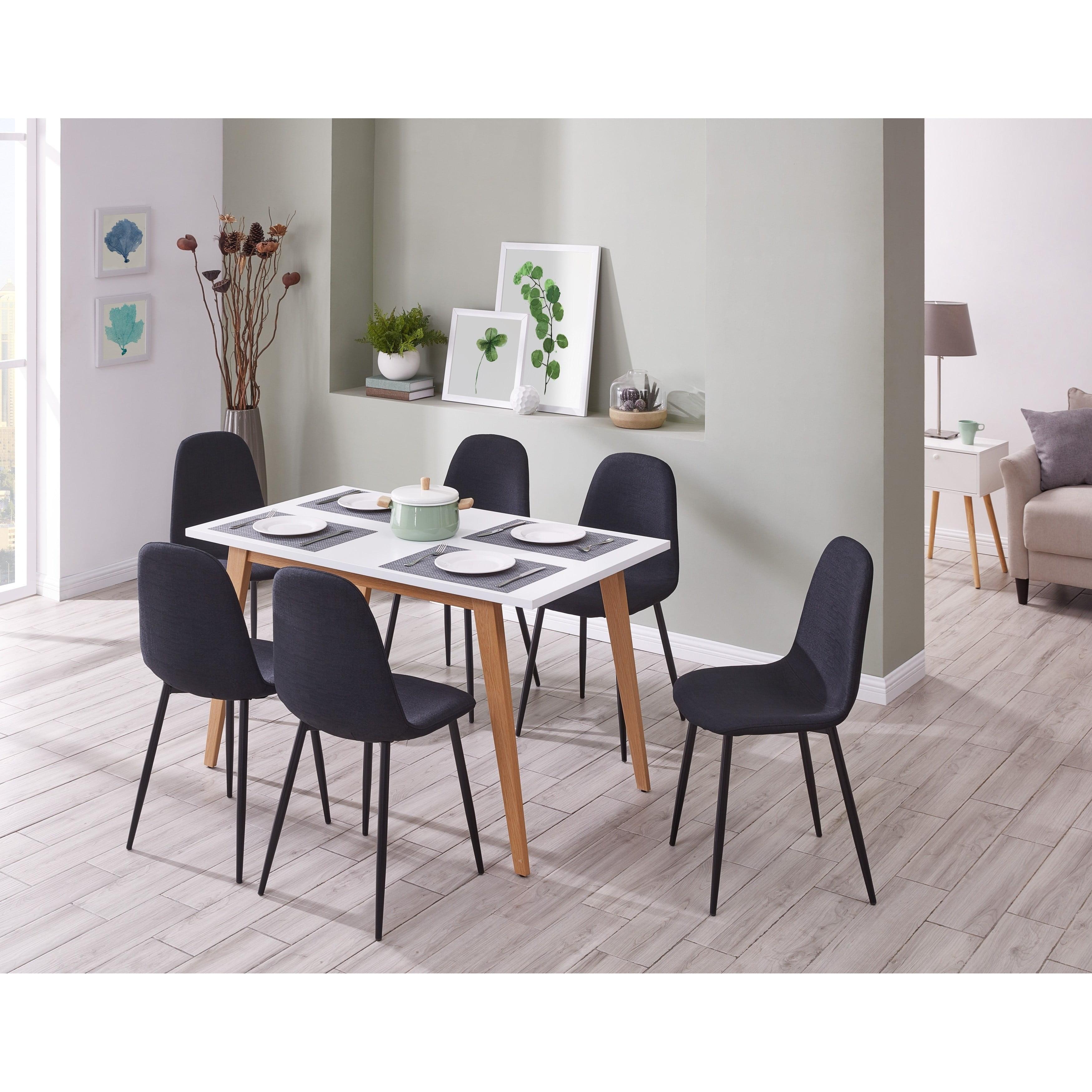 IDS  Online Minimalism Style 7 PCS White Dining Table Set