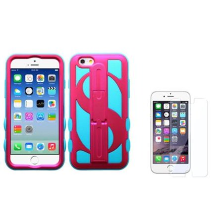 Insten Hot Pink/Teal Green Dollar Hard Hybrid Stand Case For iPhone 6S 6 4.7