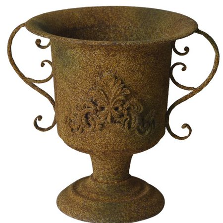 fleur de lis living cranor rustic garden accent with resin decal urn planter. Black Bedroom Furniture Sets. Home Design Ideas