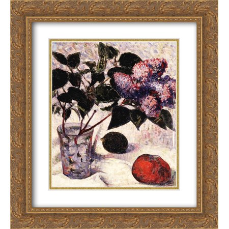 Meijer de Haan 2x Matted 20x24 Gold Ornate Framed Art Print 'Lilacs in a Glass, Apple and (Gold Frame Polo Glasses)