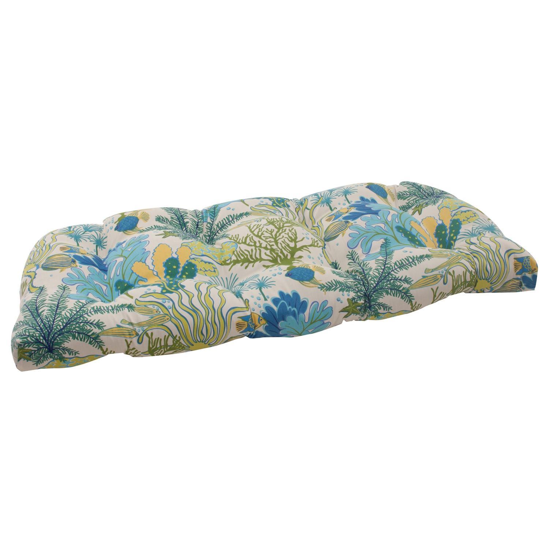"44"" Nautical Ocean Splash Outdoor Patio Tufted Wicker Loveseat Cushion"