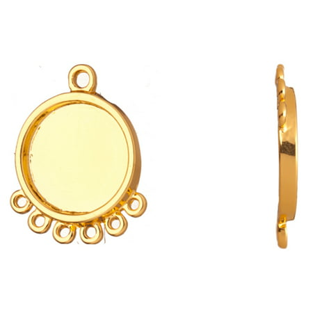 - Link/Connector, 16K Gold Finished 6 Loops Round Bezel Cup Setting Link/Connector 22x18mm With 13mm Cabochon Setting