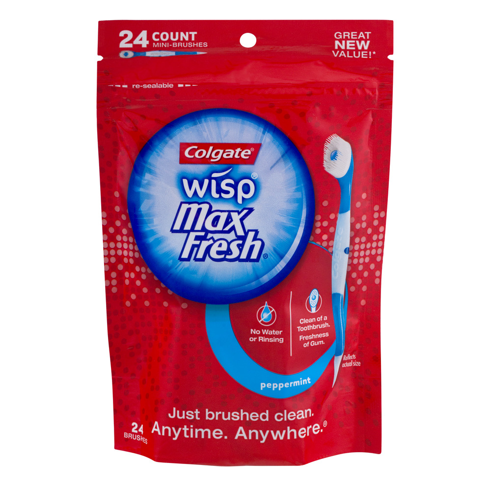 Colgate Max Fresh Wisp Disposable Mini Toothbrush, Peppermint - 24 Count