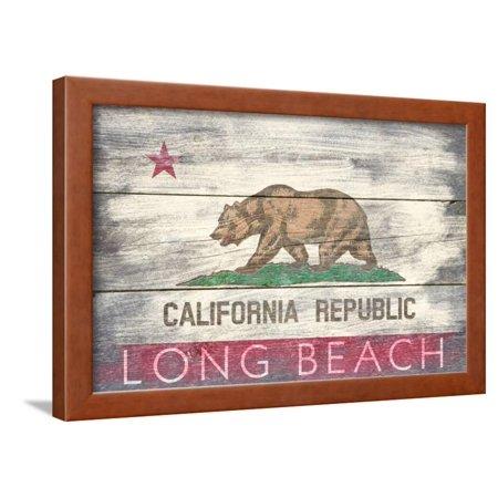State University Long Beach Framed (Long Beach, California - Barnwood State Flag Framed Print Wall Art By Lantern)