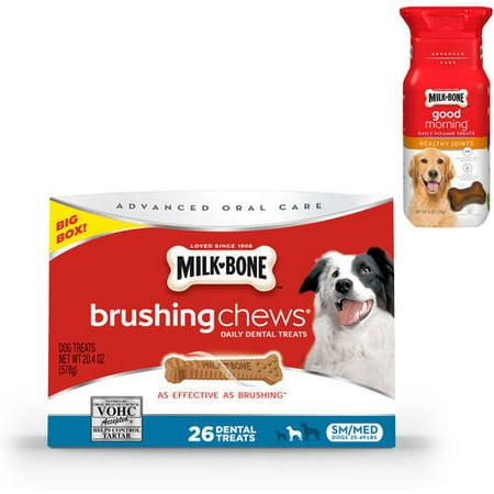 Lait-Bone Brushing Bouchées dentaire et vitamine Daily Dog Treats Value Bundle