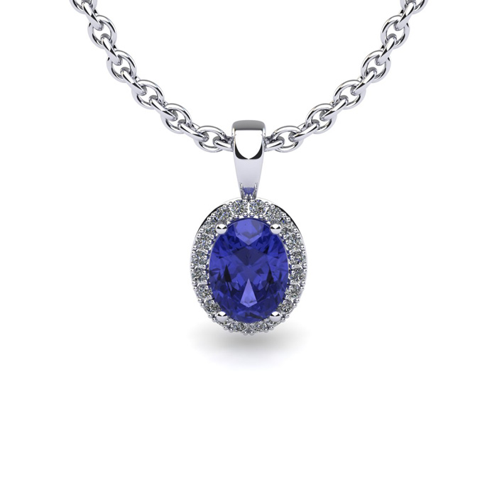 1 1 2 Carat Oval Shape Tanzanite and Halo Diamond Necklace In 14 Karat White Gold With 18 Inch Chain by SuperJeweler