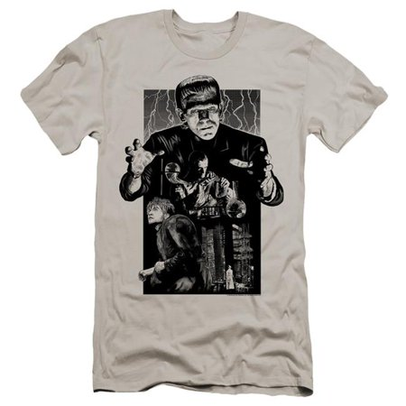 Trevco Sportswear UNI1291B-PSF-5 Universal Monsters & Frankenstein Illustrated-Hbo Short Sleeve Adult 30-1 T-Shirt, Silver - 2X - image 1 of 1