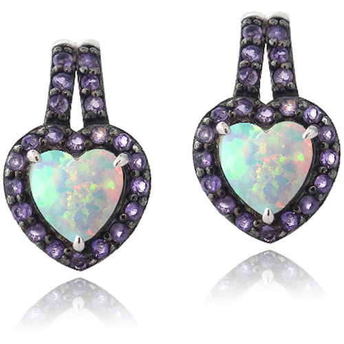 Created White Opal and Amethyst Heart Sterling Silver Drop Earrings