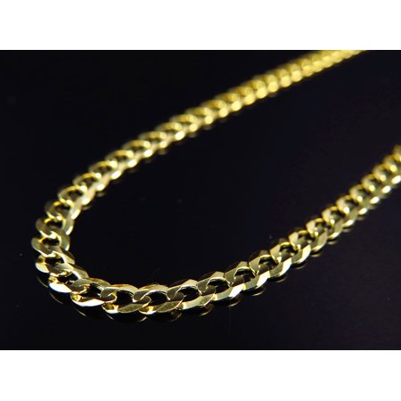 1ecc1e26d0500 10K Yellow Gold Solid Plain Style Cuban Link Chain 18-30