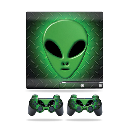 Mightyskins Protective Vinyl Skin Decal Cover for Sony Playstation 3 PS3 Slim skins + 2 Controller skins Sticker Alien Invasion