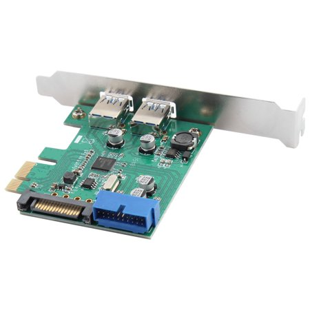 Computer PCI-E to USB 3 0 2-Port Express Card Desktop Front Panel Black 2  in 1