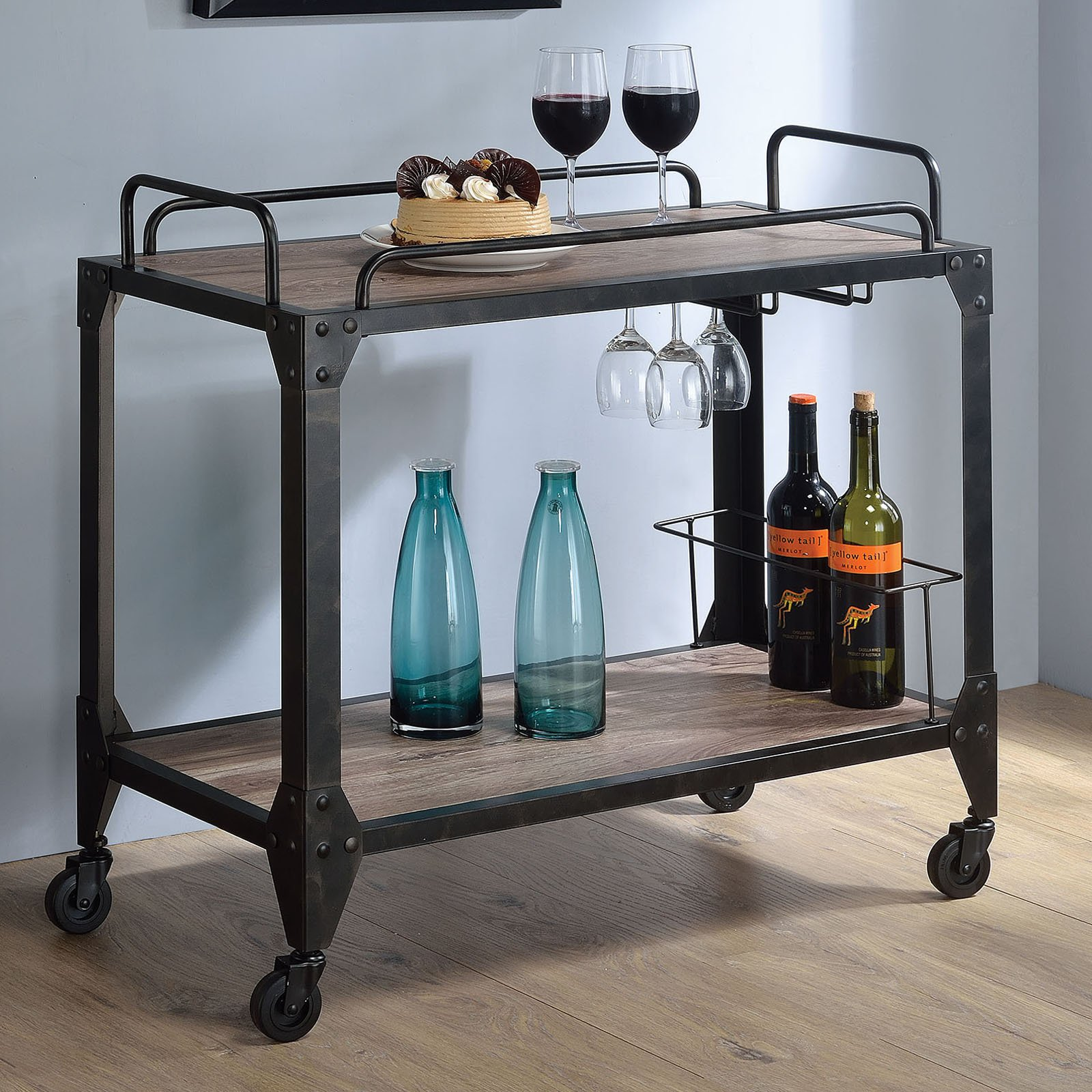 ACME Caitlin Serving Cart, Rustic Oak and Black by Acme Furniture
