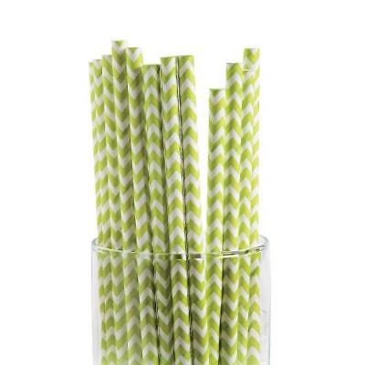 IN-13659665 Lime Green Chevron Paper Straws 24 Piece(s)