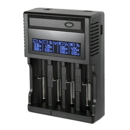 Unique Bargains US Plug AC100-240V Rechargeable Li-ion/Ni-MH Battery Charger LCD Display 4-Slots - image 1 de 7