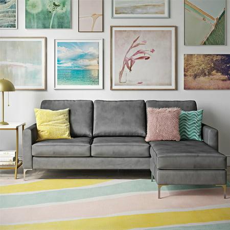 Novogratz Chapman Sectional Sofa with Chrome Legs, Gray ()