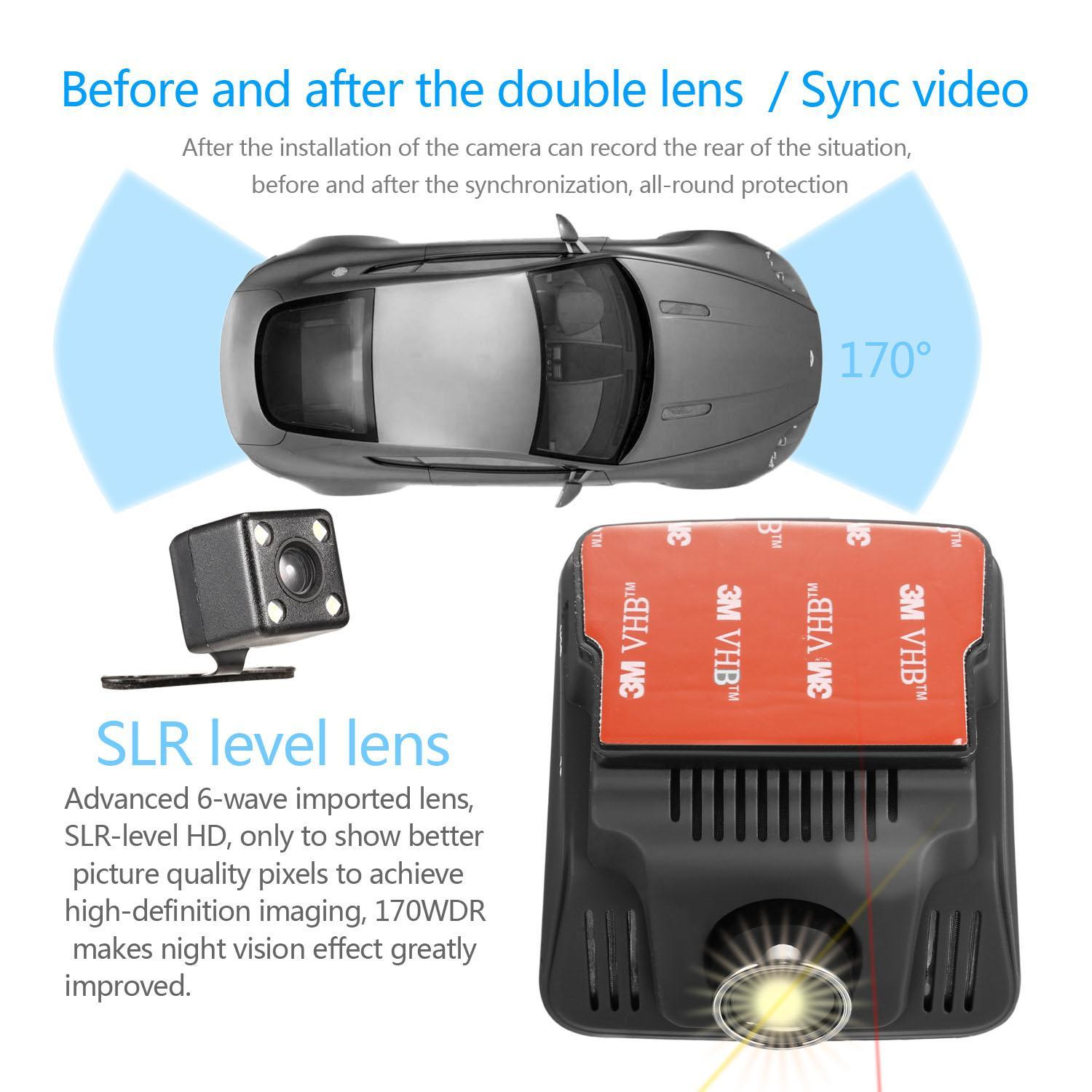 Elecmall HD Wifi Dash Cam Dual Camera Dashcam 170° Angle Car Dash Camera