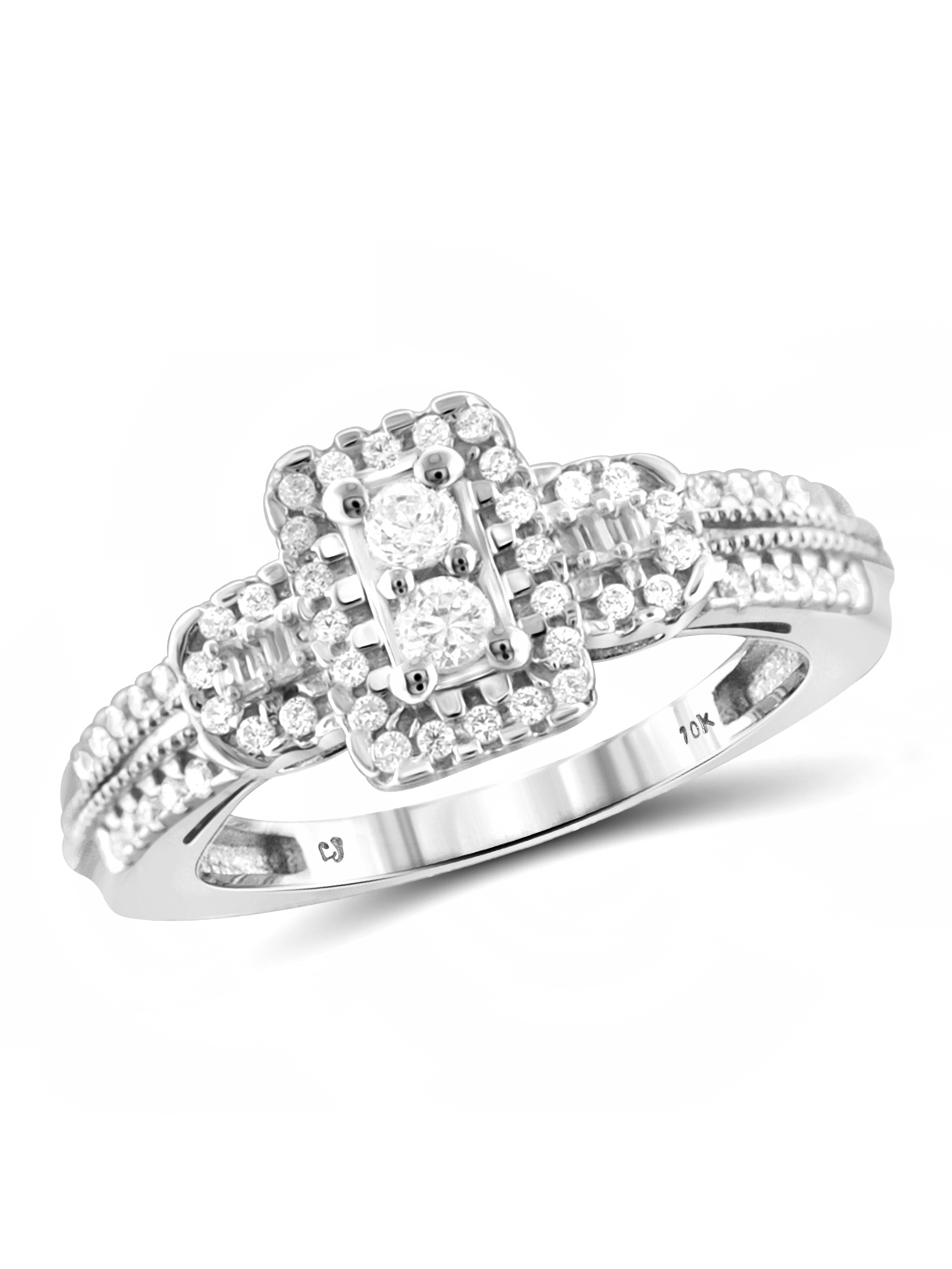 JewelersClub 1/2 Carat T.W. Round- and Baguette-Cut White Diamond 10kt White Gold Two-Stone Ring